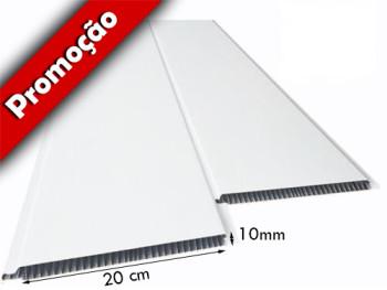 Forro de PVC LISO BISOTADO Branco 10 mm  20 cm Larg  m² (Barras de 1 a 6m)