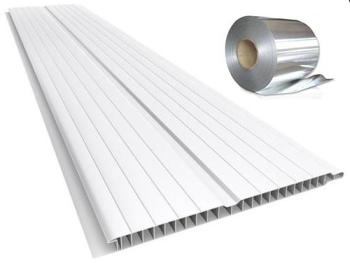 Forro de PVC FRISADO GEMINI Branco c/ Isolante Térmico  8 mm  20 cm Larg  Barra 3,5 m