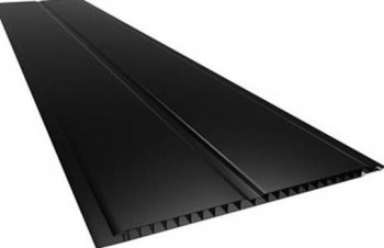 Forro de PVC LISO GEMINI Plasbil Preto  7 mm  20 cm Larg  Barra 6 m (ou m²)