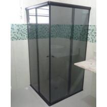 Box vidro Canto fume Acab Alum Branco/Preto/Bronze - M²