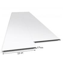 Forro de PVC LISO JUNTA SECA Fosco Branco 25 cm Larg 7 mm m² (Barras de 1 a 6m)