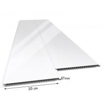 Forro de PVC LISO JUNTA SECA Brilho Branco 25 cm Larg 7 mm m² (Barras de 1 a 6m)