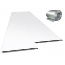 Forro de PVC LISO JUNTA SECA Plasbil Branco c/ isolante Térmico  10 mm  20 cm Larg  Barra 3,5 m