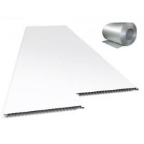 Forro de PVC LISO JUNTA SECA Plasbil Branco c/ isolante Térmico  10 mm  20 cm Larg  Barra 2,5 m