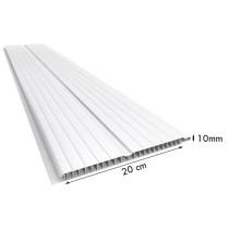 Forro de PVC FRISADO GEMINI Branco 20 cm Larg 10 mm m² (Barras de 1 a 7m)