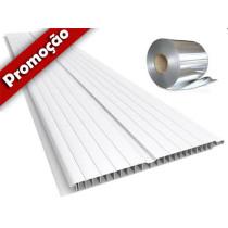 Forro de PVC FRISADO BRANCO 8 mm c/ Isolante Térmico Br 5 mt x 20 cm larg ou m²