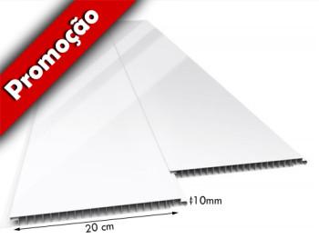 Forro de PVC LISO JUNTA SECA Plus BRILHO Branco 20 cm Larg 7 mm m² (Barras de 1 a 6m)