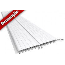 Forro de PVC FRISADO GEMINI Branco 20 cm Larg 7 ou 8 mm m² (Barras de 1 a 7m).