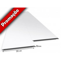 Forro de PVC LISO JUNTA SECA Branco 20 cm Larg 9 mm m² (Barras de 1 à 6m)